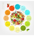 Calendar 2014 with four season bouquet for your vector image vector image
