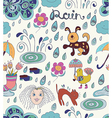 Rain cartoon Seamless background with funny vector image vector image