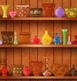 vases and art flower pots on wooden shelves for vector image