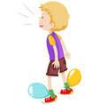 Boy playing balloons popping vector image