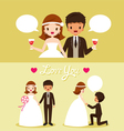 Bride And Black Skin Groom In Wedding Clothing Set vector image