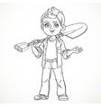 Cute boy farmer in jeans holding a shovel on his vector image