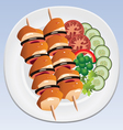 grilled chicken and vegetables vector image