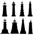lighthouse silhouette set vector image