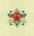 sketch of tattoo henna heart vector image