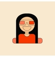 girl at movie in flat style vector image