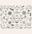 floral doodles vector image