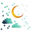 moon and stars vector image