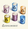 realistic recycle bin icons set vector image