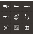 black logistic icons set vector image
