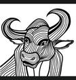 Bull head animal for t-shirt vector image