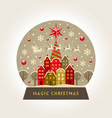 decorative flat snow globe christmas vector image