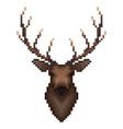 deer portrait in pixel art style vector image