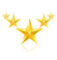 Five gold stars in the shape of wedge vector image