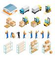warehouse isometric set vector image