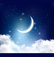 Night sky background with with crescent moon vector