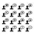User communication black icons set vector image vector image