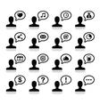 User communication black icons set vector image