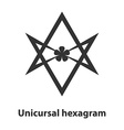 Icon of Unicursal hexagram symbol Thelema religion vector image
