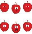 Emotion cartoon red apple set 002 vector image vector image