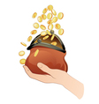 hand with purse and coins vector image