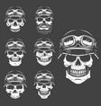 set of racer skulls isolated on white background vector image