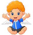 cartoon baby wearing wing vector image