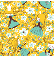princess floral seamless pattern vector image