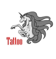 Rearing up unicorn with twisted horn icon vector image