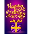 Happy Birthday poster - gold ribbon lettering and vector image
