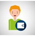 man tourist traveler wallet money design graphic vector image