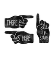 Navigation signs Black hand silhouettes with vector image