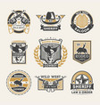 wild west vintage isolated label set vector image