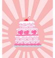 Triple Tiered Pink Wedding Cake vector image
