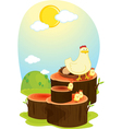 hen on log vector image vector image