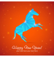 New year origami paper horse 2014 celebration card vector image vector image