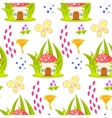 Spring forest mushroom house seamless pattern vector image