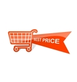 Sale design sticker with shopping basket Best vector image