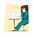 business man entrepreneur working on a computer vector image