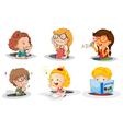 Cartoon kids studying vector image