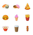 restaurant food icons set cartoon style vector image