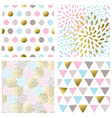 Set of abstract seamless patterns in gold color vector image