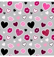 Pattern with kisses and hearts vector image