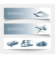 Three Isolated Transport Banners Set vector image