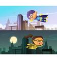 Kids Superhero Two Horizontal Banners vector image