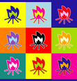 fire sign pop-art style colorful icons vector image
