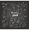Business doodles chalk on blackboard eps10 vector image