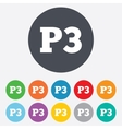 Parking third floor icon Car parking P3 symbol vector image