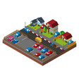 3d design for city scene with houses and cars vector image