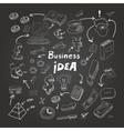 Business doodles chalk on blackboard eps10 vector image